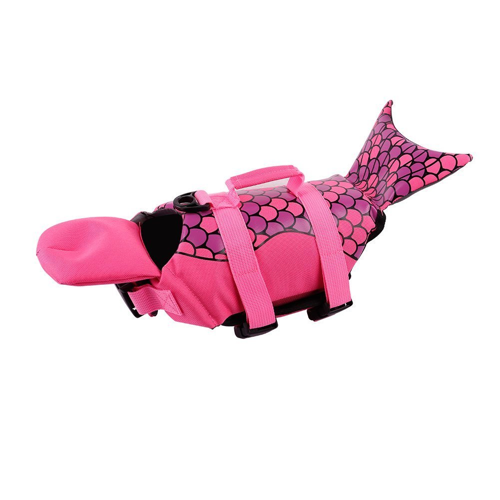 PETCEE Dog Life Jacket Quick Release Easy-Fit Adjustable Life Jackets for Dogs (Pink Mermaid, M)