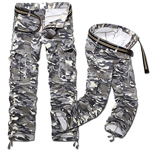 NiuZi Mens Military Cargo Pants Loose Fit Cotton Casual Multi-Pocket Camouflage Cargo Outdoor Work Pants (#Grey Camo, - Cargo Pants Camouflage