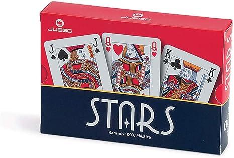 Juego -2 mazos Cartas Ramino 100% plástico, Calidad, para torneos Casino - Azul y Rojo: Amazon.es: Juguetes y juegos