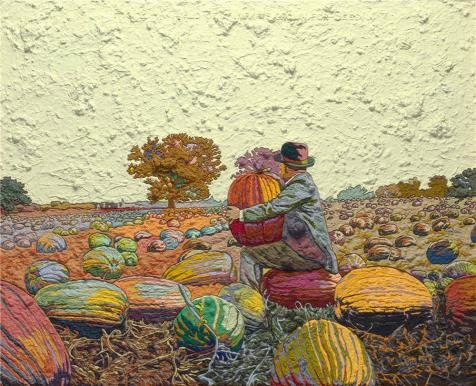 Perfect Effect Canvas ,the High Quality Art Decorative Prints On Canvas Of Oil Painting 'Jess,Figure 2-A Field Of Pumpkins Grown For Seed Translation,1965', 30x37 Inch / 76x94 Cm Is Best For Foyer Decor And Home Artwork And Gifts (Christian Pumpkin Poem)