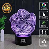 HUI YUAN Abstract 3D Lamp Room Bedroom Decorative Night Light Multi 7 Color Change USB Cable Smart Touch Button LED Desk Table Light Lamp Kida Kiddie Gift