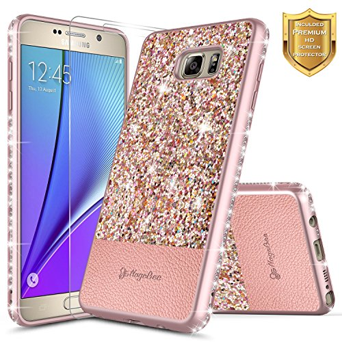 Galaxy Note 5 Case with [Screen Protector HD Clear], NageBee Shiny Diamond Glitter Bling Crystal Super Slim Protective Soft TPU Leather Hybrid Case for Samsung Galaxy Note 5 (Rose Gold)