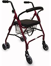 Andador de aluminio con frenos por presión | 2 ruedas delanteras giratorias y 4 traseras | Elegante diseño cromado | Cómodo asiento acolchado y cesta de la compra | TOP VENTAS