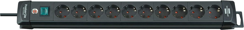 Brennenstuhl Premium-Line, Regleta de enchufes con 10 tomas de corriente (cable de 3 m, con interruptor, Hecho en Alemania), color negro