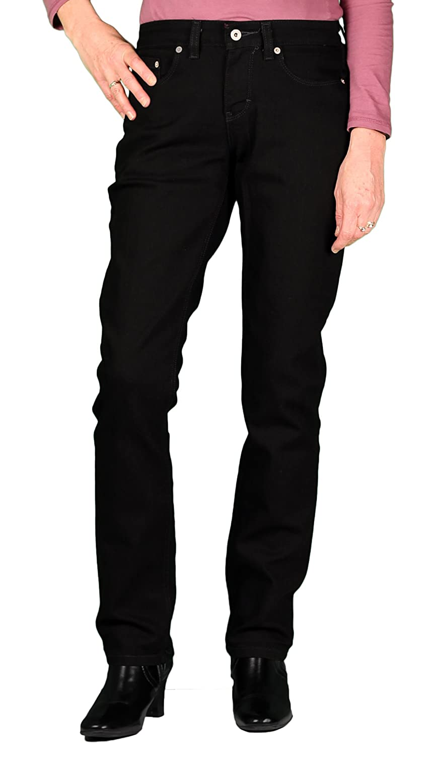 edc3b31af23033 74% Cotton, 25% Polyester, 1% Spandex Imported Classic 5-Pocket Styling  Straight Leg Stretch Fabric Contoured No-Gap Waistband Curvy Fit