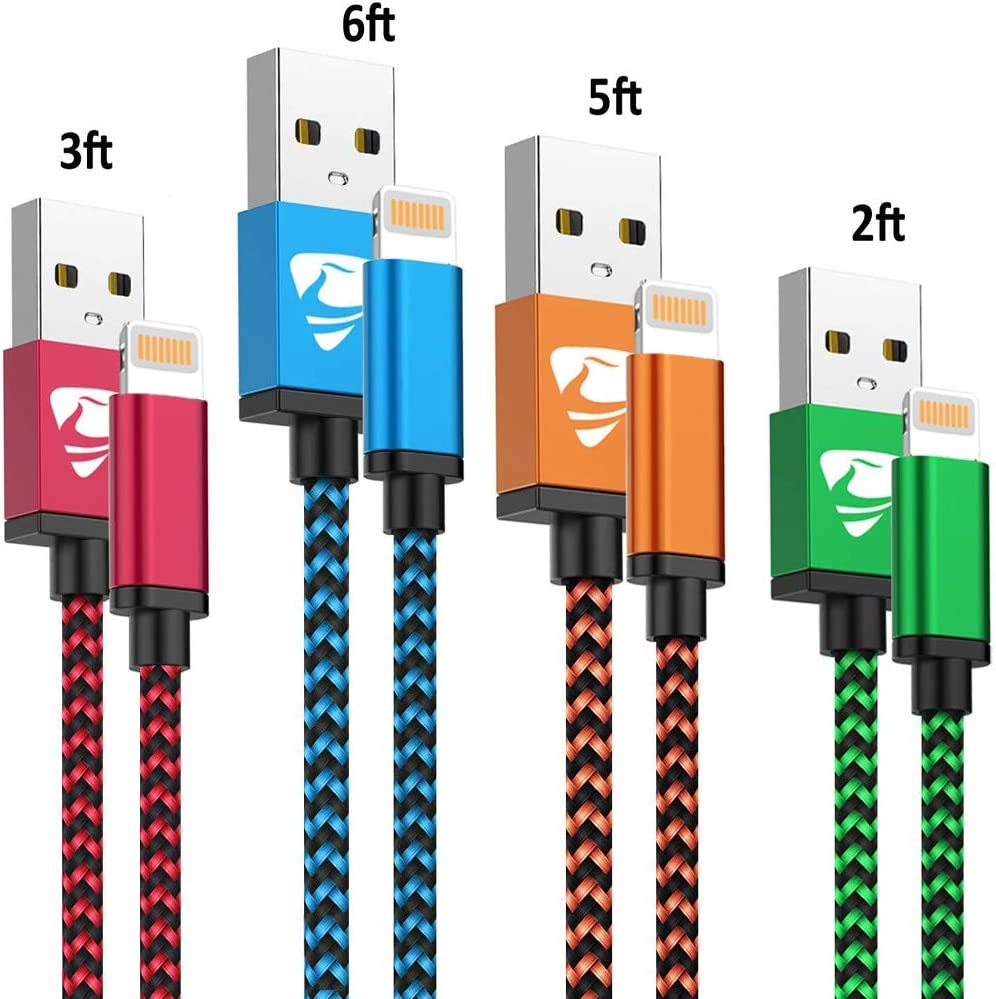 iPhone Charger Cord 4Pack iPhone Charger Cable MFi Certified Lightning Cable Fast iPhone Charging Cord Nylon Braided iPhone Charging Cable Compatible with Phone 11 Pro max/XR max/8/7/6/6s/SE 2020,iPad