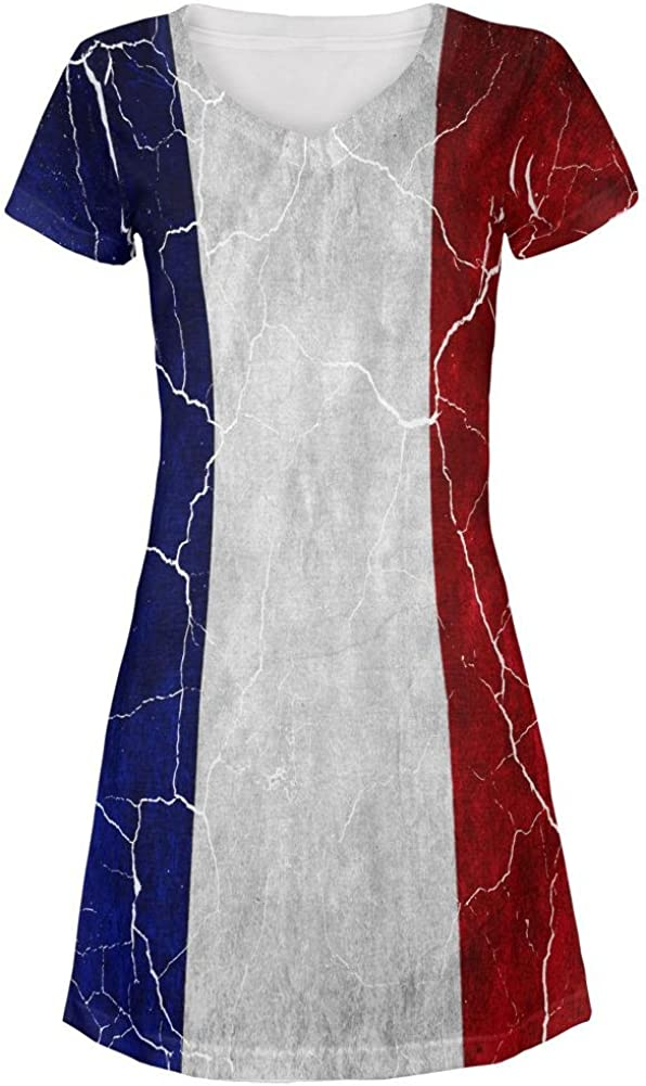 Distressed French Flag All Over Juniors Cover-Up Beach Dress