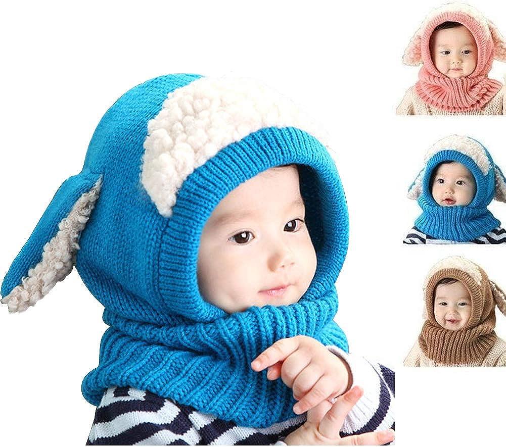 Baby Warm Knit Hat Scarves Lutateo Winter Baby Hats Toddler Winter Hat Scarf Set Baby Toddler Winter Hat Scarf Set Warm Cap with Ears for Ki ds 6-36 Months