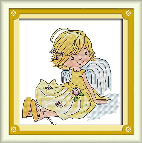 CaptainCrafts Hot New Cross Stitch Kits Needlecrafts Patterns Counted Embroidery Kit - Little Angel (WHITE) - House Cross Stitch Sampler