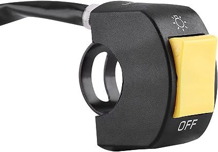 Amarillo Interruptor universal de manillar de motocicleta de 7//8 pulgadas interruptor de encendido//apagado de faro LED Keenso con bot/ón