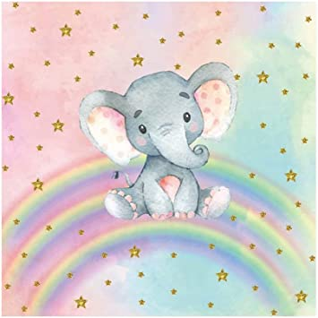Amazon Com Ofila Girls Elephant Rainbow Backdrop 5x5ft Polyester Fabric Watercolor Photography Background Girls Baby Shower Party Decoration Princess Room Wallpaper Decor Newborn Baby Portraits Props Electronics