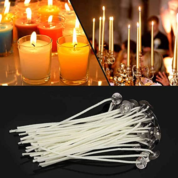Pre-Waxed for Candle Making Low Smoke DGQ 3.5 Inch Natural Candle Wicks with Tabs 100pcs 100/% Natural Cotton Core