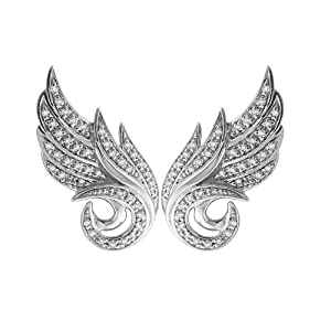 10K White Gold Angel Feather White Diamond Earring (0.22 Carat)