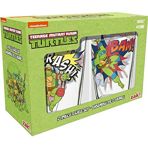 Nickelodeon TNTQ-B080 Ninja Turtles Pint Glass Tumblers 16 oz. capacity, Set of 2 by Zak! Designs, Leonardo, Michelangelo, Donatello & Raphael]()