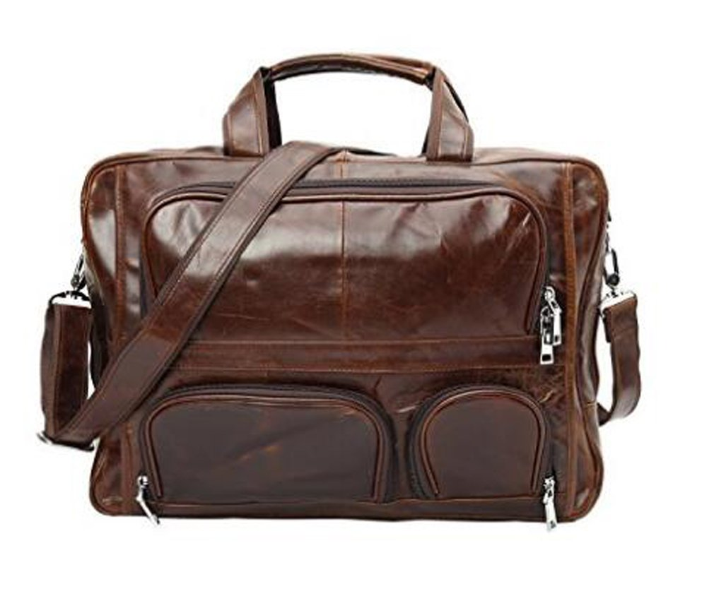 Sulandy Genuine Leather 17'' Laptop Carry On Overnight Bag Business Briefcase Large