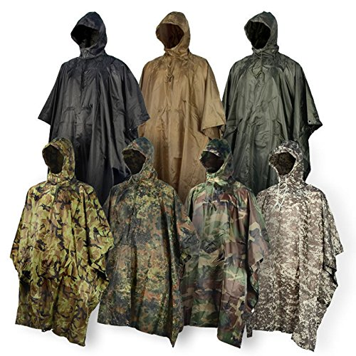 Rain-Poncho-JTENG-Waterproof-Ripstop-Hooded-US-PVC-Camouflage-Rain-coat