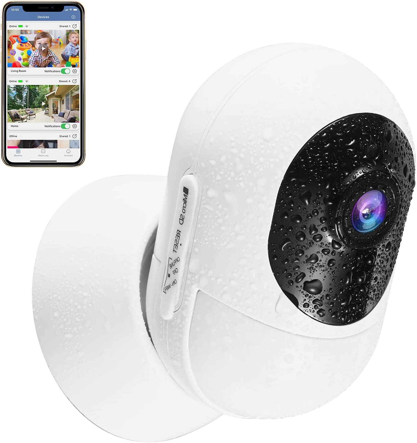 Security Camera Outdoor,Upgraded Wireless WiFi IP Home Surveillance Cameras, Indoor Rechargeable Powered 1080P HD Smart Cam with Night Vision, Motion Detection, 2-Way Audio, SD Slot, Pet Cat Dog Cam