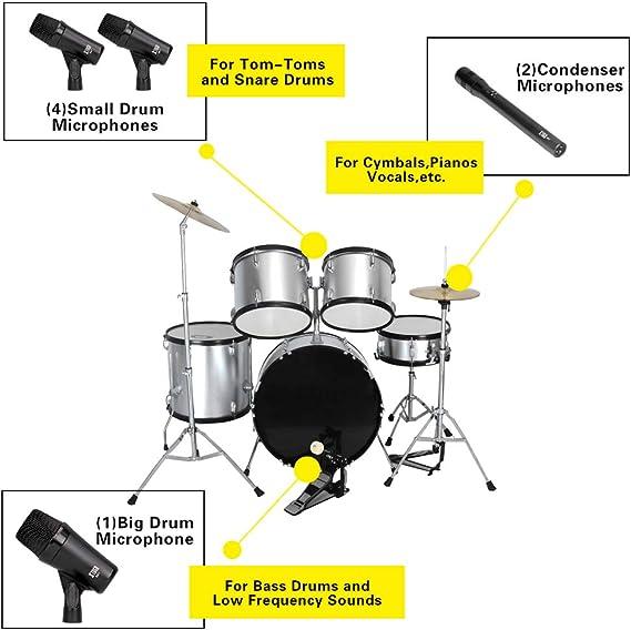 XTUGA MI7 Kit de micrófono dinámico con cable de 7 piezas (metal ...