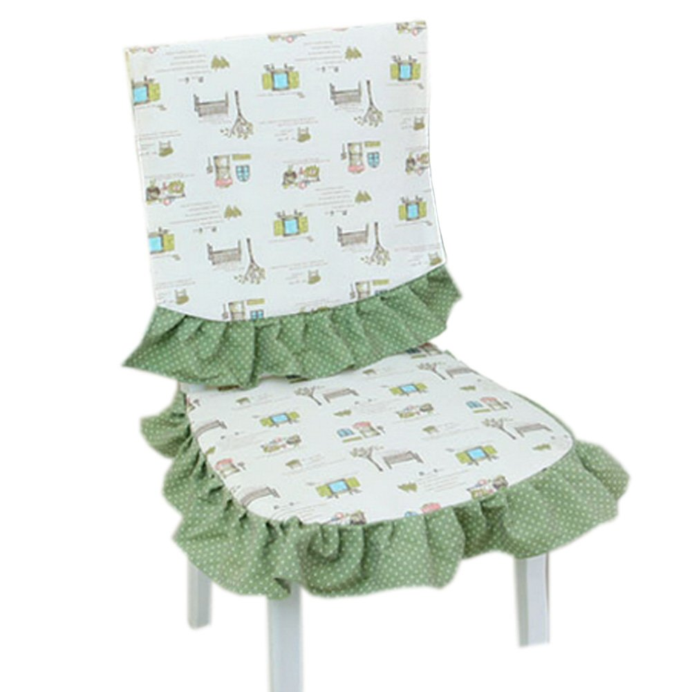 Country Style Chair Slipcover Lace Romantic Cover With House Pattern, Green
