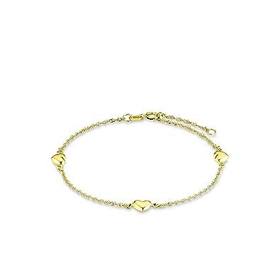 amor Damen-Armband 19cm mit Herz-Anhängern 333 Gelbgold  Amazon.de ... e814c54fa5