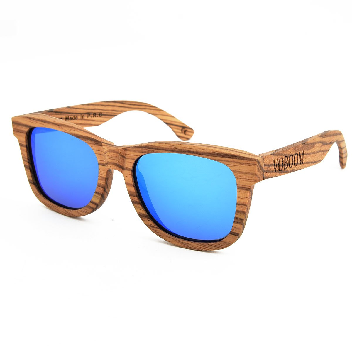 fc1b23fc7a VOBOOM® Polarized Bamboo Wooden Arms Mens Womens Vintage Sunglasses Eyewear  with original package G-S002-B (Blue Mirrored)  Amazon.co.uk  Clothing