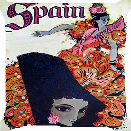 Pillows Decorative Throw Pillowcase Cushion Cover Square Cushion Cover18 x 18 Inch One Side Spain girl national costume flamenco dance cute dancer by Dennis (Flamenco Dance Costumes For Girls)