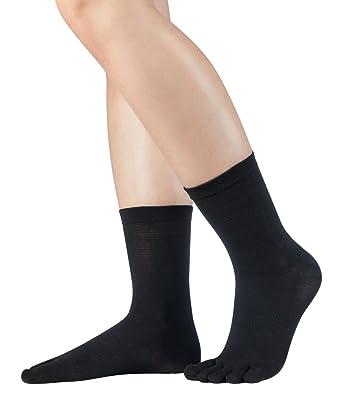 Knitido Silkroad Midi | Calcetines de seda con dedos, para verano E invierno, unisex (hasta la talla 46), en negro y beis: Amazon.es: Ropa y accesorios
