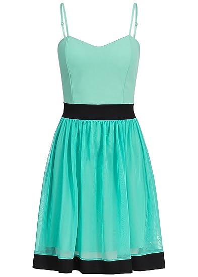 violet Fashion Damen Kleid kurz mit verstellbaren Träger und Tüll  Brustpolster Reißverschluss mint grün schwarz, Gr  S  Amazon.de  Bekleidung 4383f90d87