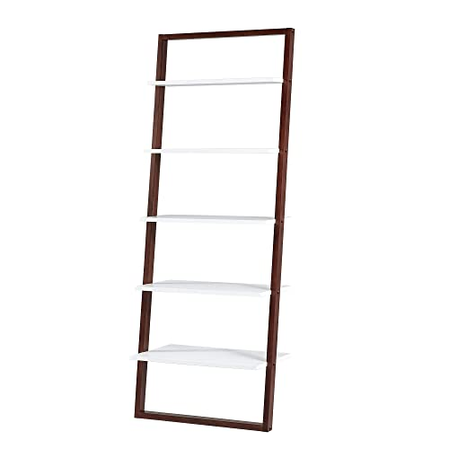 Union 5 Home Fredrikstad Modern Two-Tone Leaning Ladder Bookshelf – Espresso White