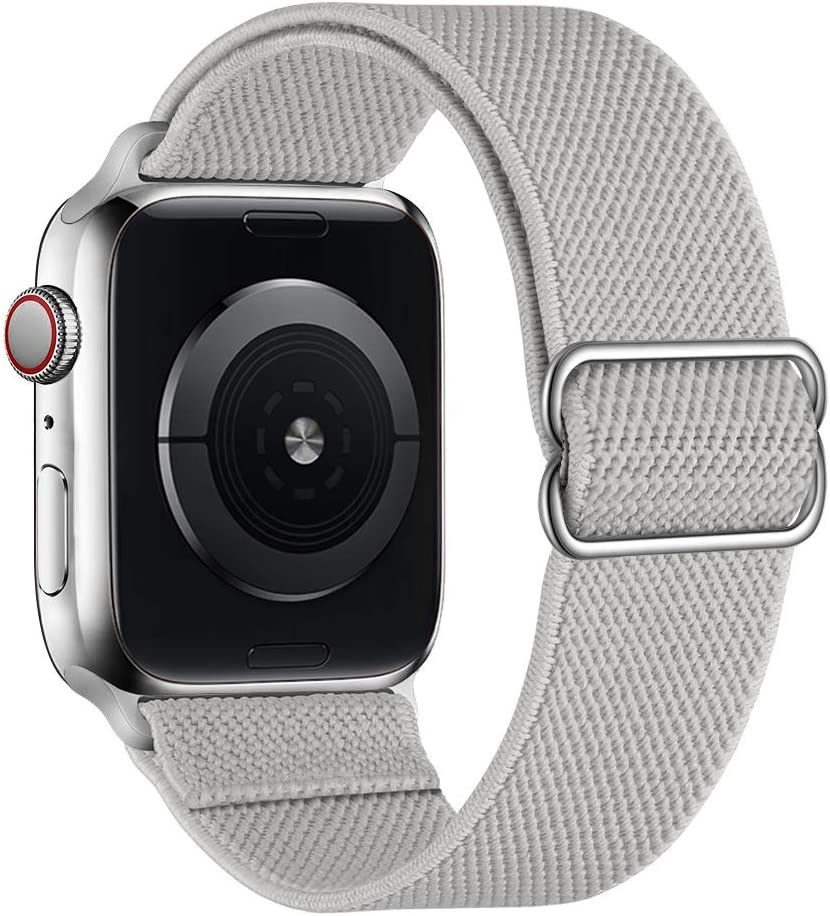 SIRUIBO Stretchy Nylon Solo Loop Bands Compatible with Apple Watch 42mm 44mm, Adjustable Stretch Braided Sport Elastics Women Men Strap Compatible with iWatch Series 6/5/4/3/2/1 SE, Storm Gray