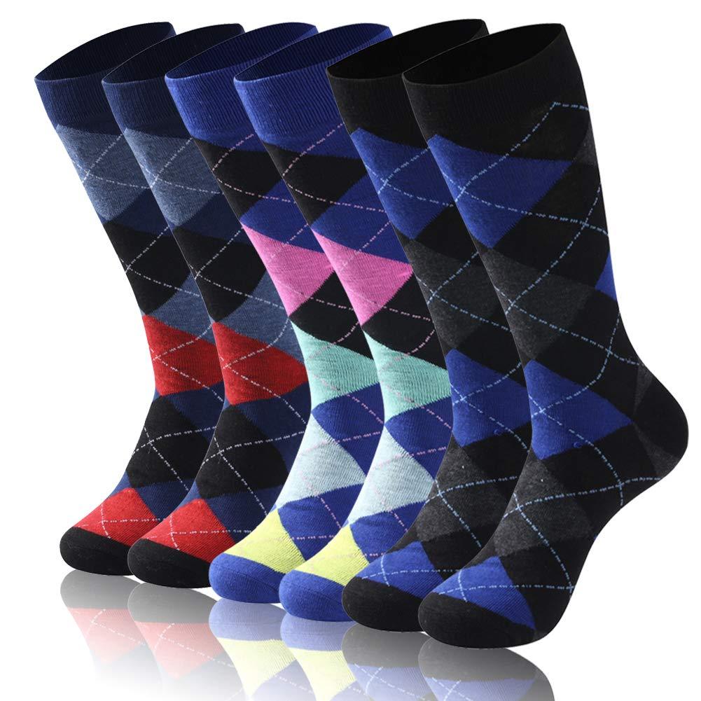 Diwollsam Dress Socks for Men Funny, Unisex Black Grey Blue Argyle Pattern Airflow Classic Fashion Hiking Running Everyday Dress Socks, 6 Pairs(Argyle, M) by diwollsam