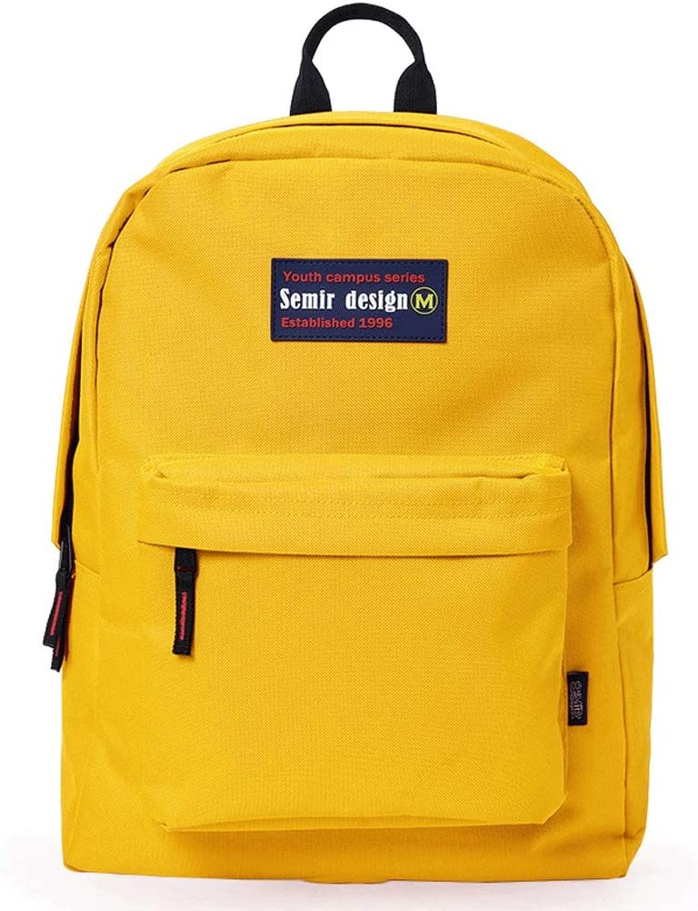Color : Yellow Casual Campus Simple College Backpack High School Unisex Waterproof Travel Bag HS-01 Female Korean Version of The Backpack Black, Red, Yellow