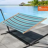 LazyDaze Hammocks 15 Feet Heavy Duty Steel Hammock Stand, Two Person Sunbrella Fabric Hammock Combo,Token Surfside