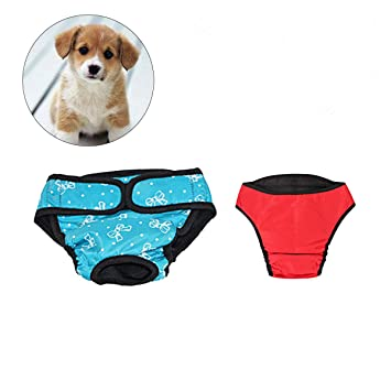 UEETEK 2 PCS Pet Dog Puppy Pañal Sanitario Physiological Pants Female Dog Shorts Bragas Menstruación Underwear