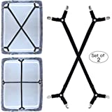 Premium Bed Sheet Fasteners, 2 Pcs Adjustable Crisscross Fitted Sheet Band Straps Grippers Suspenders Corner Holder…