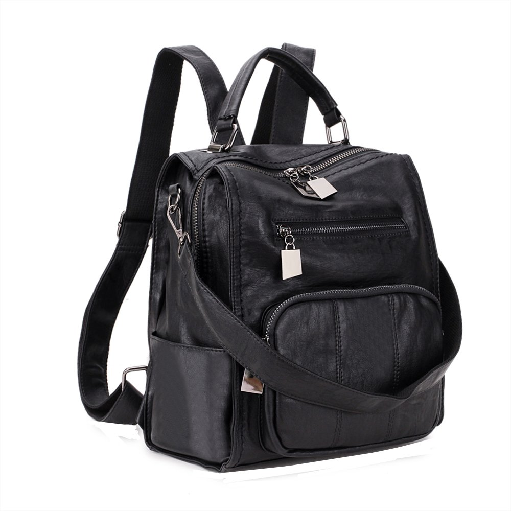 Women Backpack Purse,RAVUO Ladies PU Leather Casual Shoulder Bag mini Backpack for Girls Three Ways to Carry Black