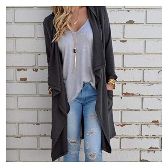 Chaussures 2018 design intemporel vente royaume-uni Buy BEESCLOVER Women Irregular Long Sleeve Cardigan Loose Outwear ...