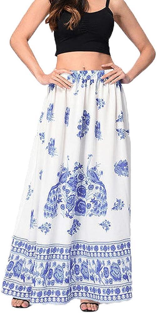 Lulupi - Falda Larga para Mujer, Estilo Bohemio Azul M: Amazon.es ...