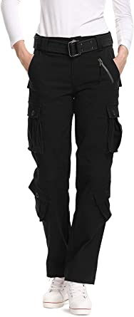 Womens Tactical Pants Black, 2 New Cotton Casual Cargo Work Pants Military Army Combat Trousers 8 Pockets