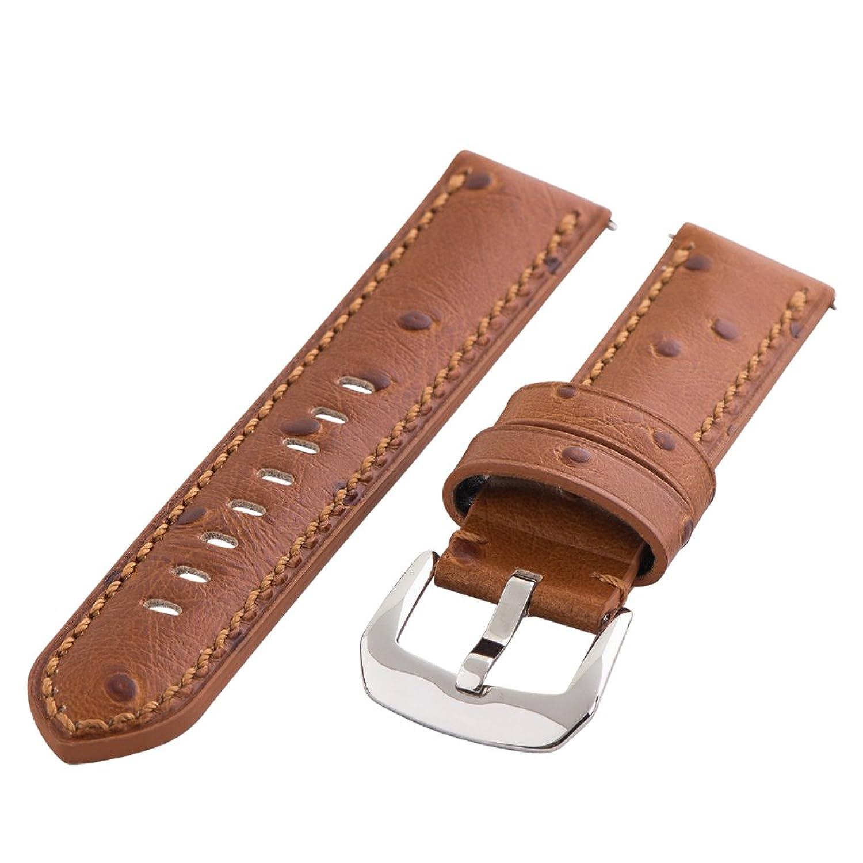 Clockwork Synergy Gentlemen 'sコレクション – 24 mmサドルOstrich Grainレザー腕時計バンド  B01MRVB5QJ
