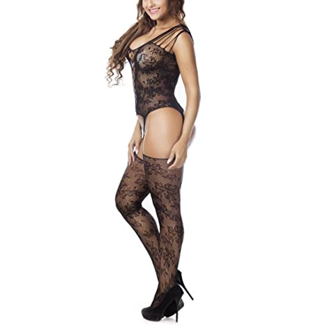 20c8227a9 Amazon.com  Sexy Crotchless Bodystocking Sheer Fishnet Nightwear Black  Hollow Out Net Teddy  Clothing