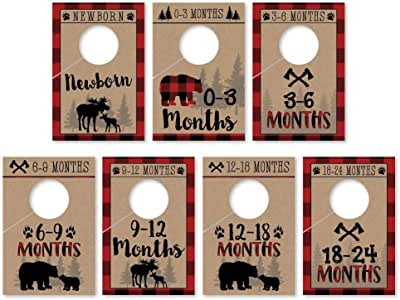7 Lumberjack Baby Nursery Closet Organizer Dividers For Boy Clothing, Age Size Hanger Organization For Kid Toddler Infant Newborn Clothes Must Have, Shower Registry Gift Supplies, Woodland 0-24 Months