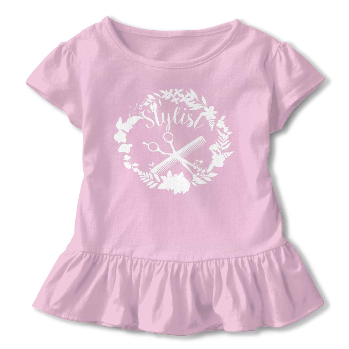 Louise Morrison Hair Stylist Toddler Girls Cute Animal Floral Letter Print at Front Short Sleeve Casual Summer Baby Children Tunic Dress Shirt Pink