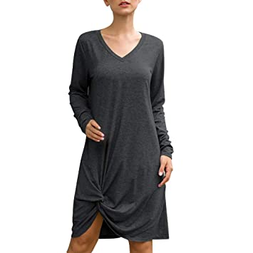Baiomawzh Vestidos Mujer de Camiseta Suelto Casual Cuello ...