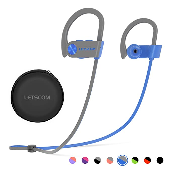 76ad7ccf21a Bluetooth Headphones, LETSCOM Wireless Earbuds IPX7 Waterproof Noise  Cancelling Headsets, Richer Bass & HiFi
