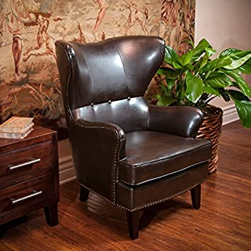 leather wingback chair with nailhead trim brown club accents for sale cape town wing cover