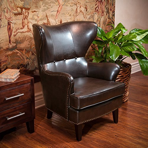 Romford Brown Leather Wingback Club Chair w/ Nailhead Accents Trim (Leather Wingback Chairs)