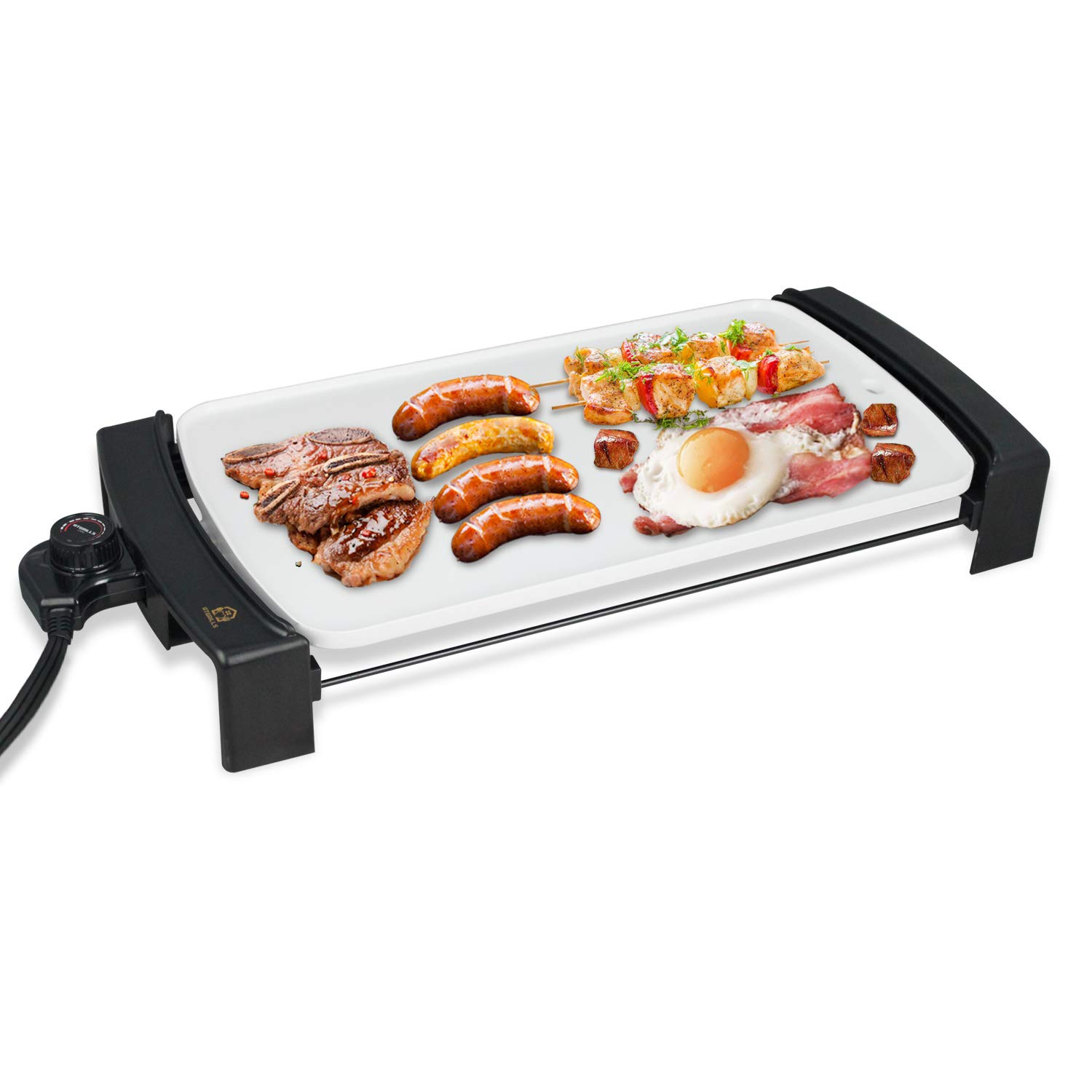 Electric Griddle Non-Stick, Smokeless Kitchen Electric Griddle with Drip Tray & Temperature Control for Indoor/Outdoor, 10''x21'' Family-Sized (HP4525, Ceramic Coating)