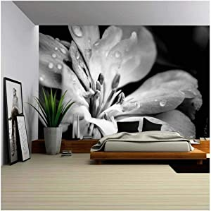 wall26 Flower with Raindrops - Removable Wall Mural | Self-Adhesive Large Wallpaper - 100x144 inches