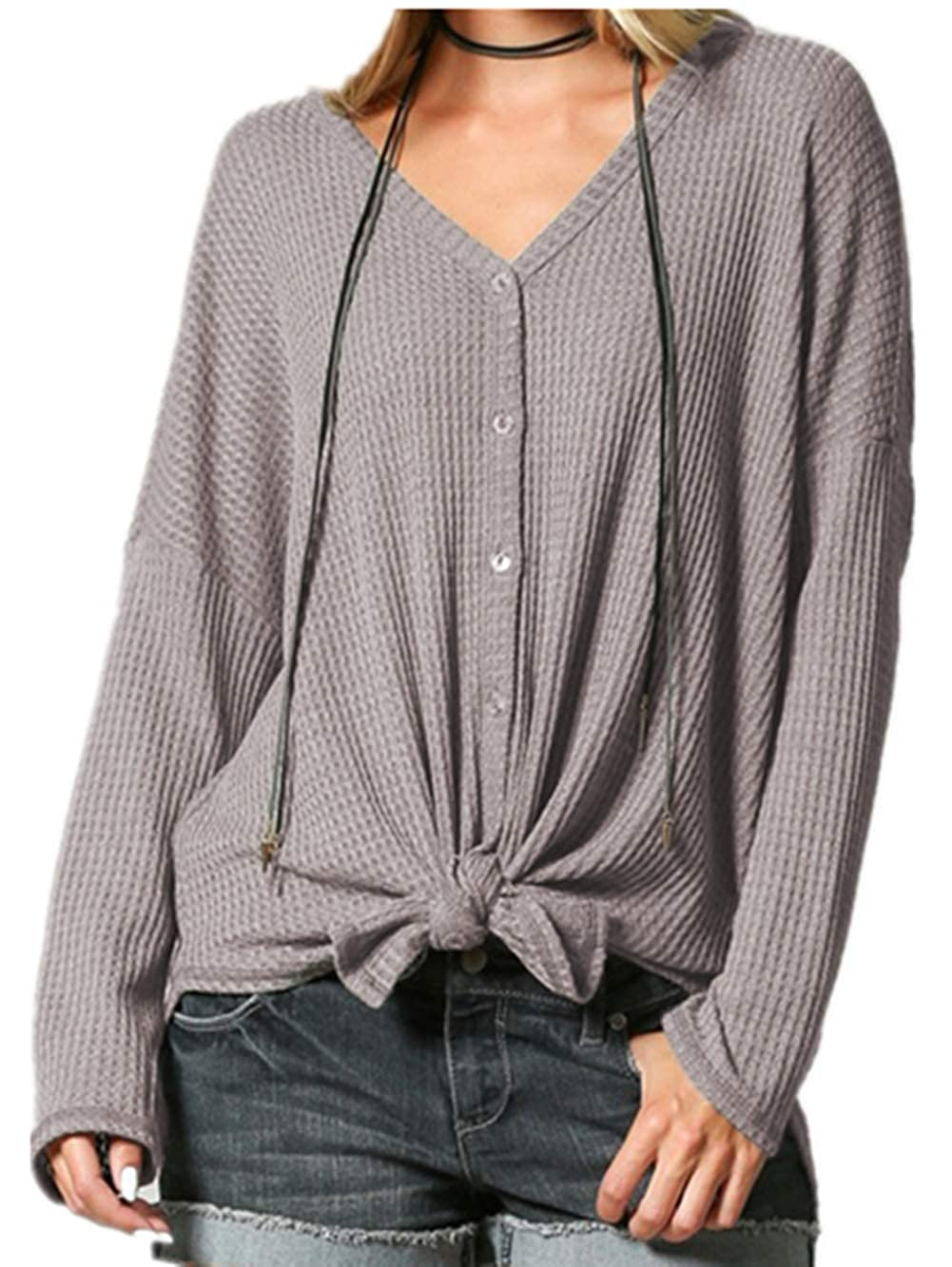 YANDW Women Waffle Knit Sweater Long Sleeve Tops Button Down Shirts Tie Front Henley